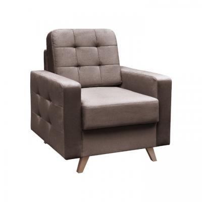 Szögletes fotel, steppelt, sötétbarna - ALEX
